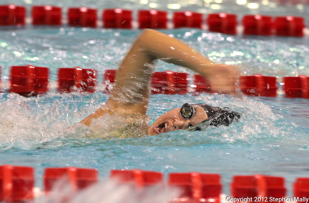 Iowa City West's Lilian Zhu turns her heard for air as she competes in the 200 yard freestyle event during the MVC Girls Swimming Championships at Washington High School in Cedar Rapids on Saturday October 13, 2012. Zhu placed second in the event with a time of 2:00.07.