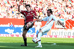 24.04.2011, easy Credit Stadion, Nuernberg, GER, 1.FBL, 1. FC Nuernberg / Nürnberg vs 1. FSV Mainz 05, im Bild:.Philipp Wollscheid (Nuernberg #38) gg Christian Fuchs (Mainz #22).EXPA Pictures © 2011, PhotoCredit: EXPA/ nph/  Will       ****** out of GER / SWE / CRO  / BEL ******