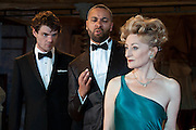 19/10/2011. London's last remaining music hall, Wilton's, presents a new production of 'Britannicus', Racine's study of Rome under the tyranny of Nero's rule. Directed by Irina Brown. Picture shows Matthew Needham as Nero, Sian Thomas as Agrippina, & Christopher Colquhoun as Narcissus. Photo credit : Tony Nandi/LNP