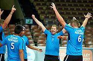 Katowice, Poland - 2017 September 02: Czech Republic's team celebrate after victory in SO Poland versus SO Czech Republic match during European Unified Volleyball Tournament 2017 at Spodek Hall on September 02, 2017 in Katowice, Poland.<br /> <br /> Adam Nurkiewicz declares that he has no rights to the image of people at the photographs of his authorship.<br /> <br /> Picture also available in RAW (NEF) or TIFF format on special request.<br /> <br /> Any editorial, commercial or promotional use requires written permission from the author of image.<br /> <br /> Image can be used in the press when the method of use and the signature does not hurt people on the picture.<br /> <br /> Mandatory credit:<br /> Photo by © Adam Nurkiewicz / Mediasport