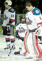 KELOWNA, CANADA, DECEMBER 27: The Pepsi Save On Foods Player of the Game stands in the starting line up as the Spokane Chiefs visit the Kelowna Rockets on December 7, 2011 at Prospera Place in Kelowna, British Columbia, Canada (Photo by Marissa Baecker/Getty Images) *** Local Caption ***