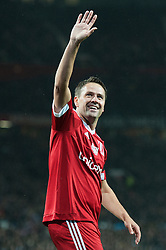 MANCHESTER, ENGLAND - Saturday, November 14, 2015: Michael Owen celebrates scoring his team's second goal during the Unicef  Match for Children charity match at Old Trafford between Great Britain & Ireland XI and Rest of the World XI. (Pic by Richard Martin-Roberts/Propaganda)