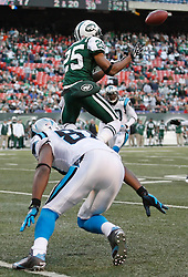 Nov 29, 2009; East Rutherford, NJ, USA; New York Jets safety Kerry Rhodes (25) intercepts a pass of Carolina Panthers quarterback Jake Delhomme (17) during the second half at Giants Stadium. The Jets defeated the Panthers 17-6.