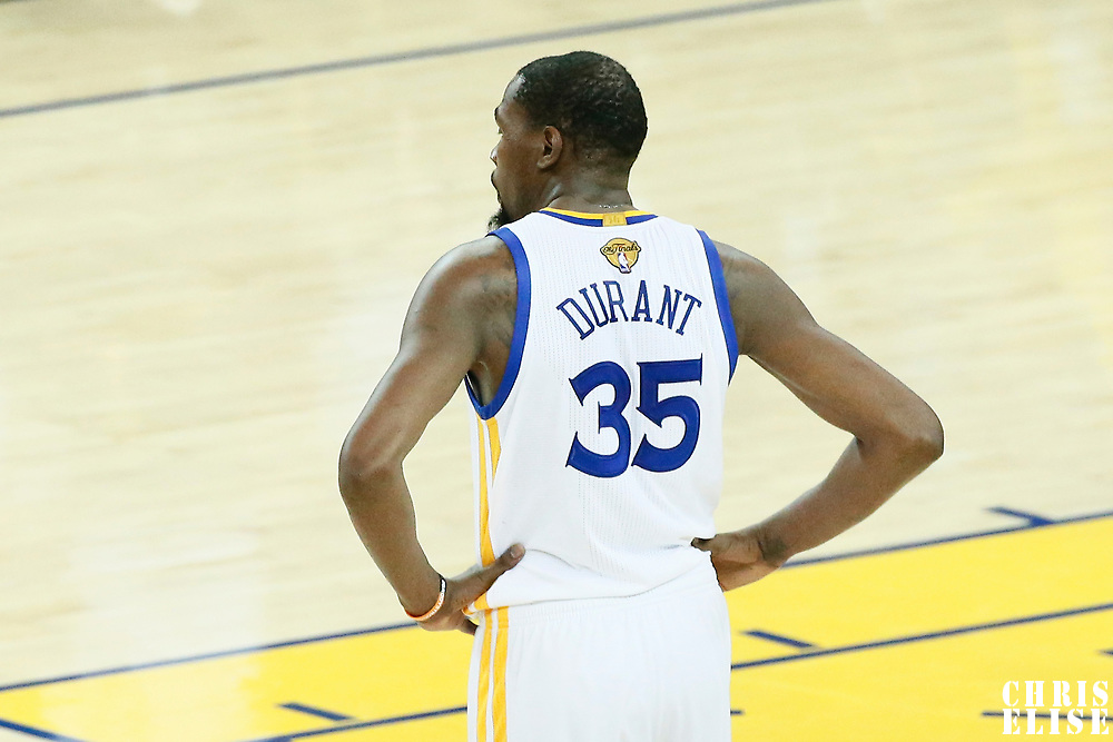 12 June 2017: Golden State Warriors forward Kevin Durant (35) is seen during the Golden State Warriors 129-120 victory over the Cleveland Cavaliers, in game 5 of the 2017 NBA Finals, at the Oracle Arena, Oakland, California, USA.