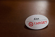 Alex Lee aka #AlexFromTarget's now famous name tag sits on his dresser in his room on November 10, 2014 in Frisco, Texas. (Cooper Neill for The New York Times)