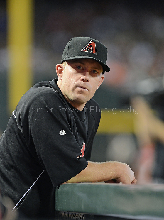 PHOENIX, AZ - JUNE 08:  Infielder Aaron Hill #2 of the Arizona Diamondbacks sits in the dugout in the game against the San Francisco Giants at Chase Field on June 8, 2013 in Phoenix, Arizona. The Giants defeated the Diamondbacks 10-5.  (Photo by Jennifer Stewart/Getty Images) *** Local Caption *** Aaron Hill