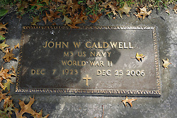 31 August 2017:   Veterans graves in Dawson Cemetery in eastern McLean County.<br /> <br /> John W Caldwell  M3 US Navy  World War II  Dec 7 1923  Dec 25 2006