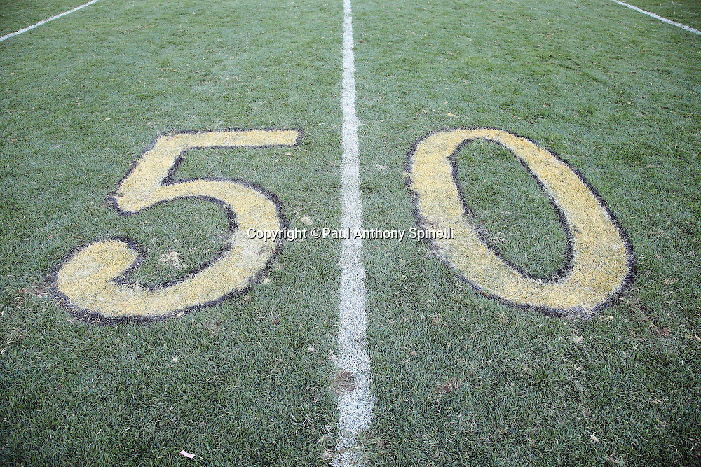 The 50 yard line marker that painted (black and gold in honor of Super Bowl L) on the grass is chewed up with fleet marks after the Pittsburgh Steelers 2015 NFL week 6 regular season football game against the Arizona Cardinals on Sunday, Oct. 18, 2015 in Pittsburgh. The Steelers won the game 25-13. (©Paul Anthony Spinelli)
