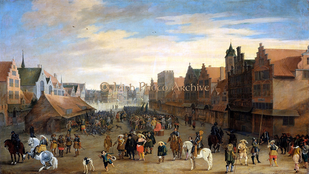 Joost Cornelisz. Droochsloot (1586–1666) Dutch painter. 1586 - 1666. 'The disbanding of the waardgelders' (mercenaries in the pay of the town government) by Prince Maurits in Utrecht, 31 July 1618. painted circa1625 Oil on canvas
