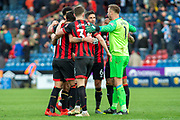 Bournemouth team huddle at full time to Celebrates as they bet Huddersfield Town 0-2 during the Premier League match between Huddersfield Town and Bournemouth at the John Smiths Stadium, Huddersfield, England on 9 March 2019.
