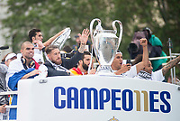Pepe, Sergio Ramos, Keylor Navas and Marcelo during the celebration of the victory of the Real Madrid Champions League at Plaza de Cibeles in Madrid. May 28. 2016. (ALTERPHOTOS/Borja B.Hojas)