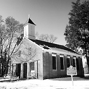 Gary Cosby Jr.  iPhone photographs<br /> Old Brick Church in Mooresville, Alabama with snow on the ground.