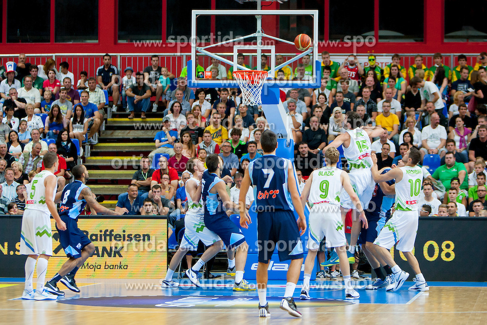 During friendly match between National teams of Slovenia and Bosnia and Herzegovina for Eurobasket 2013 on August 16, 2013 in Podmezakla, Jesenice, Slovenia. (Photo by Urban Urbanc / Sportida.com)