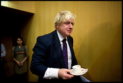 London Mayor Boris Johnson prepares to give a speech at the Indian Business School in Hyderabad, on the forth day of a six-day tour of India, where he will be trying to persuade Indian businesses to invest in London, Wednesday November 27, 2012. Photo by Andrew Parsons / i-Images