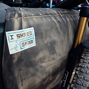 I Shred Gnar sticker on the tailgate of the Steven's Pass Resort pickup truck shuttle.