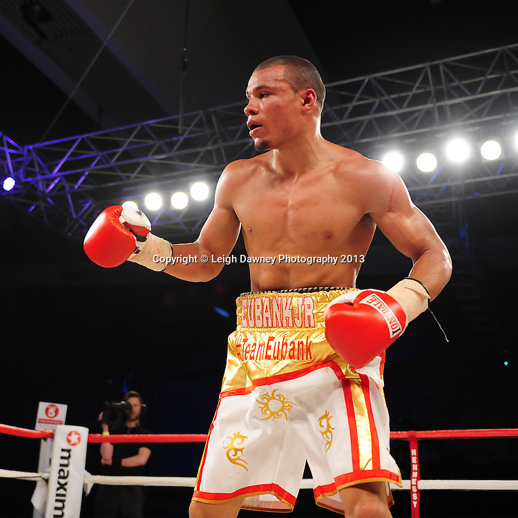 Chris Eubank Jnr (pictured) during his Middleweight contest against Tyan Booth at Glow, Bluewater, Dartford, Kent, UK on 8th June 2013. Promoter: Hennessy Sports. Mandatory Credit: © Leigh Dawney