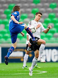Gunnlaugur Hlynur Birgisson of Iceland vs Marc Oliver Kempf of Germany during the UEFA European Under-17 Championship Group A match between Iceland and Germany on May 7, 2012 in SRC Stozice, Ljubljana, Slovenia. (Photo by Vid Ponikvar / Sportida.com)