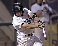 Kansas State's Eli Rumler gets a base hit, during the Wildcats four run rally in the bottom of the sixth inning against Wichita State.  K-State defeated the 19th ranked Shockers 6-3 at Tointon Stadium in Manhattan, Kansas, March 14, 2006.