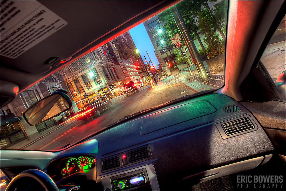 Front seat view in my car of Baltimore St. in downtown Kansas City MO.