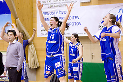 Coach of Celje Damir Grgic, Lea Jagodic, Anja Klavzar and Sandra Jevtovic react at 4th final match of Slovenian women basketball 1st league between Hit Kranjska Gora and ZKK Merkur Celje, on May 13, 2010, in Arena Vitranc, Kranjska Gora, Slovenia. Celje defeated Kr. Gora 71-60 and the result after 4th match is 2-2. (Photo by Vid Ponikvar / Sportida)