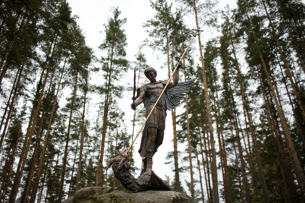 A statue at a rehabilitation program run by the orthodox church in Sapernoe, Russia, on Saturday, September 15, 2007. About a dozen people at a time live and work at the remote farm, about two hours from St. Petersburg, for a free one year course of treatment.