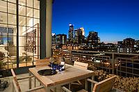 Beautiful loft and deck overlooking the Minneapolis skyline.