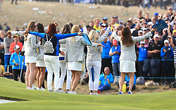 Team Europe wives and girlfriends celebrate on day three of the Ryder Cup at Le Golf National, Saint-Quentin-en-Yvelines, Paris. PRESS ASSOCIATION Photo. Picture date: Sunday September 30, 2018. See PA story GOLF Ryder. Photo credit should read: Gareth Fuller/PA Wire. RESTRICTIONS: Use subject to restrictions. Written editorial use only. No commercial use.