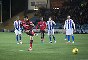 13th February 2018, Rugby Park, Kilmarnock, Scotland; Scottish Premiership football, Kilmarnock versus Dundee; Sofien Moussa of Dundee scores for 1-1 from the penalty spot