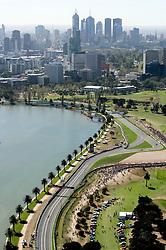 FORMEL 1: GP von Australien, Melbourne, 28.03.2009 Luftaufnahme der Rennstrecke, Stadtansicht, Illustration<br /> © pixathlon