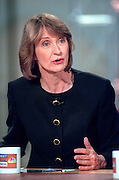 Patricia Ireland, president of NOW, the National Organization of Women, discusses the Lewinsky scandal during NBC's Meet the Press August 23, 1998 in Washington, DC.