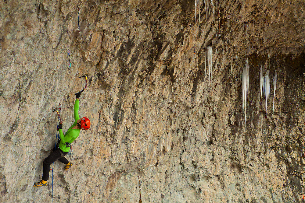 Kendra Stritch climbs Zero to Hero D12, at the Hall of Justice, Ouray, CO