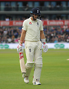 Joe Root of England looks dejected as he walks back to the pavilion during the International Test Match 2019, fourth test, day three match between England and Australia at Old Trafford, Manchester, England on 6 September 2019.