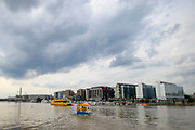 "WASHINGTON DC - June, 8: The District Wharf's free jitney brings passengers across the Washington Channel from East Potomac Park in Washington DC Friday, June 8, 2018. <br /> <br /> The Wharf is DC's latest attempt to be a ""real"" city. It took multiple agencies and act of congress to get it built. Did they repeat the mistakes of urban renewal (which moved lower income people out of the neighborhood)? Yes and no. People will still be driven out, but this time around the neighborhood is integrated more.<br /> (Photo by Matt Roth for The Washington Post)"