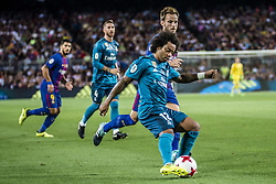 August 13, 2017 - Barcelona, Catalonia, Spain - FC Barcelona midfielder ALEIX VIDAL competes with Real Madrid defender MARCELO for the ball during the Spanish Super Cup Final 1st leg between FC Barcelona and Real Madrid at the Camp Nou stadium in Barcelona (Credit Image: © Matthias Oesterle via ZUMA Wire)