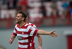 Hamilton's Anthony Andreu celebrates after scoring their goal.<br /> Half time : Hamilton 1 v 0 Falkirk, Scottish Championship played today at New Douglas Park.<br /> &copy;Michael Schofield.