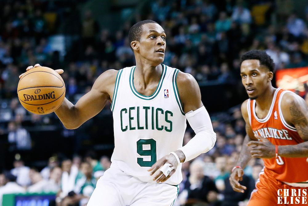 21 December 2012: Boston Celtics point guard Rajon Rondo (9) drives past Milwaukee Bucks point guard Brandon Jennings (3) during the Milwaukee Bucks 99-94 overtime victory over the Boston Celtics at the TD Garden, Boston, Massachusetts, USA.