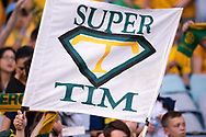 SYDNEY, AUSTRALIA - NOVEMBER 20: Australian supporters with a tribute sigh to Australian forward Tim Cahill (4) at the international soccer match between Australia and Lebanon at ANZ Stadium in NSW, Australia. on November 20, 2018. (Photo by Speed Media/Icon Sportswire)