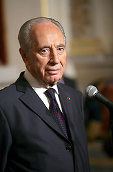 SHIMON PERES (2 August 1923 - 28 September 2016) was a Polish-born Israeli statesman. Born Szymon Perski, he was the ninth President of Israel from 2007 to 2014, served twice as the Prime Minister of Israel and twice as Interim Prime Minister, and he was a member of 12 cabinets in a political career spanning over 66 years. Peres won the 1994 Nobel Peace Prize together with Yitzhak Rabin and Yasser Arafat for the peace talks that he participated in as Israeli Foreign Minister, producing the Oslo Accords. PICTURED: Mar 10, 2008 - Paris, France - Israeli President SHIMON PERES visiting French President Sarkozy at the Elysee Palace. (Credit Image: © BD/Visual/ZUMA Press)