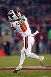 PALO ALTO, CA - NOVEMBER 10: Wide receiver Trevon Bradford #8 of the Oregon State Beavers catches a pass for a touchdown against the Stanford Cardinal during the first quarter at Stanford Stadium on November 10, 2018 in Palo Alto, California. (Photo by Jason O. Watson/Getty Images) *** Local Caption *** Trevon Bradford