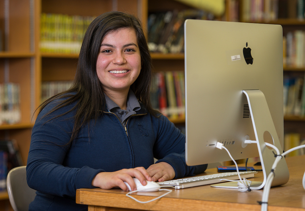 Esmeralda Valdovinos poses for a photograph at Furr High School, February 13, 2015.
