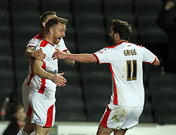 Milton Keynes Dons' Dean Bowditch celebrates with Milton Keynes Dons' Will Grigg - Photo mandatory by-line: Robbie Stephenson/JMP - Mobile: 07966 386802 - 21/04/2015 - SPORT - Football - Milton Keynes - Stadium:mk - Milton Keynes Dons v Doncaster Rovers - Sky Bet League One