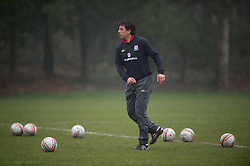 CARDIFF, WALES - Thursday, March 15, 2012: Wales national team manager Chris Coleman coaching the U16's during a training session at the Glamorgan Sports Park. (Pic by David Rawcliffe/Propaganda)