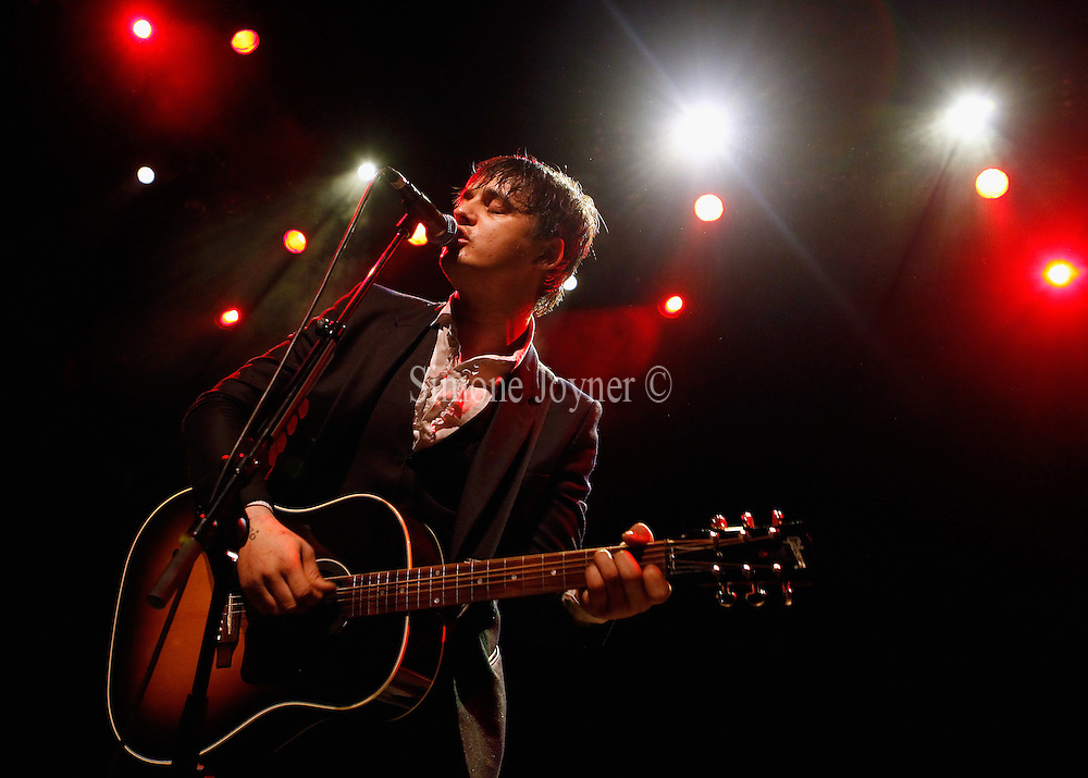 Peter Doherty performs live on stage at Shepherds Bush Empire on May 10, 2011 in London, England.  (Photo by Simone Joyner)