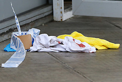 © Licensed to London News Pictures. 22/09/2019. London, UK. Blood stained clothing on a pavement outside a cafe and a restaurant on Langham Road in North London near Turnpike Lane underground and bus station where three men were stabbed and rushed to hospital. Met police were call shortly after 4pm this afternoon to Langham Road and found three men suffering from stab wounds. According to the Met Police, two men have been arrested on suspicion of GBH. Photo credit: Dinendra Haria/LNP