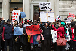 © Licensed to London News Pictures. 09/05/2014. London, UK. Demonstrators protest outside the Nigerian High Commission in London against 200 schoolgirls abducted by Islamist militants and are campaigning for their return to their families. Photo credit : Vickie Flores/LNP