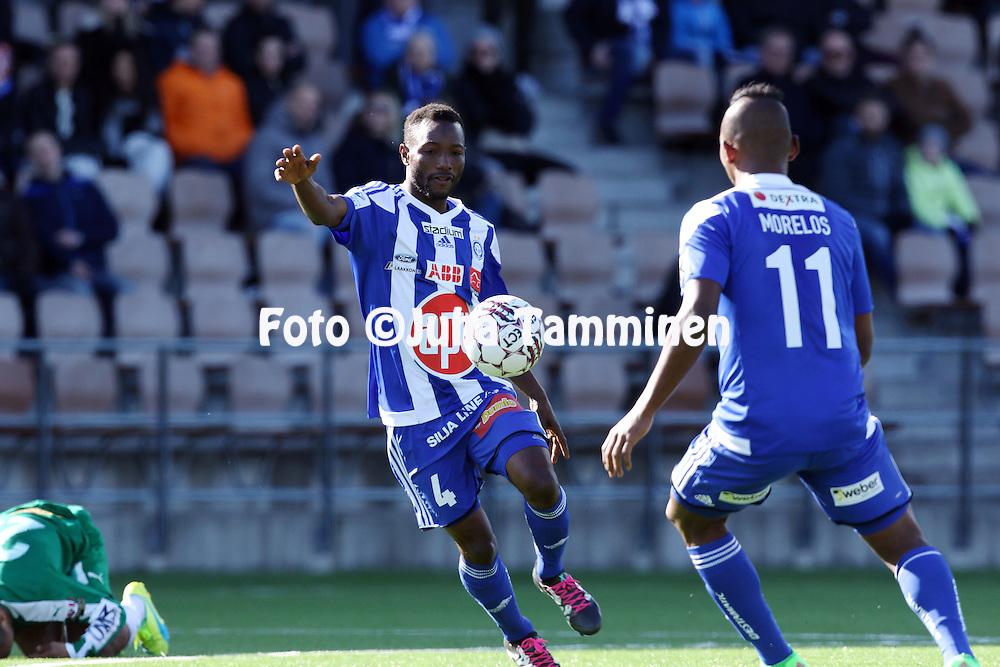 2.4.2016, Sonera Stadion, Helsinki.<br /> Veikkausliiga 2016.<br /> Helsingin Jalkapalloklubi - IFK Mariehamn.<br /> Mohamed Kamara &quot;Medo&quot; - HJK