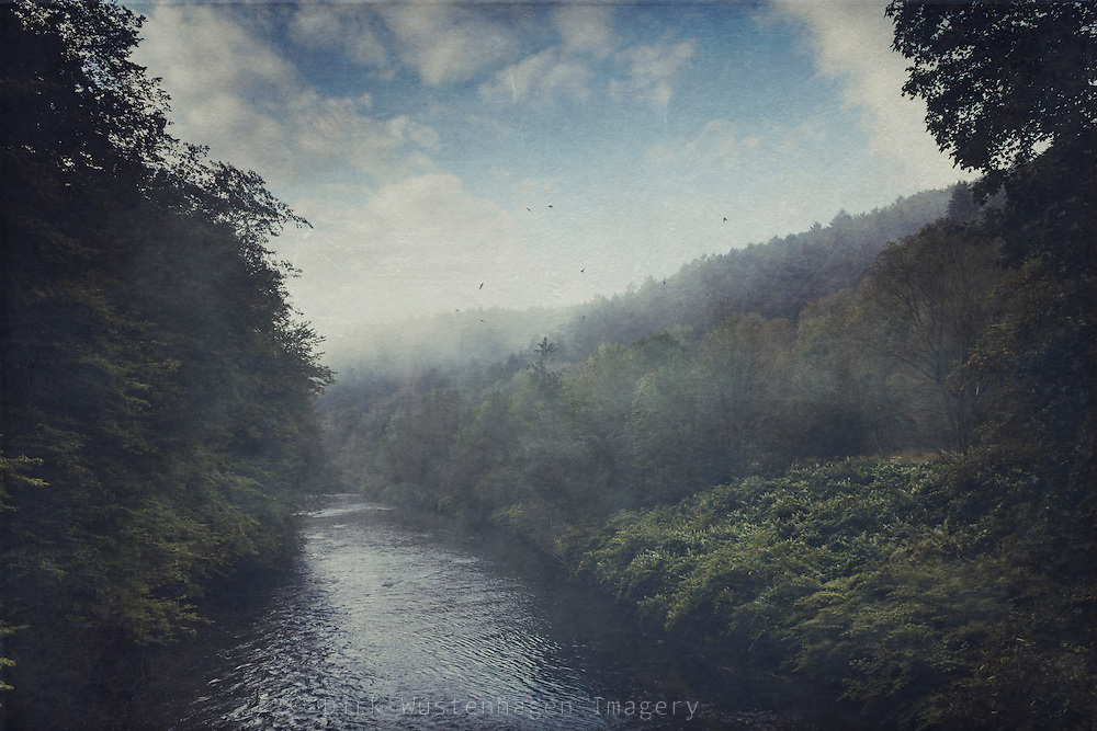 River running though a misty valley surrouded by forests - texturized photograph<br /> <br /> PRiNTS:<br /> https://society6.com/product/wilderness-in-mist_print#1=45