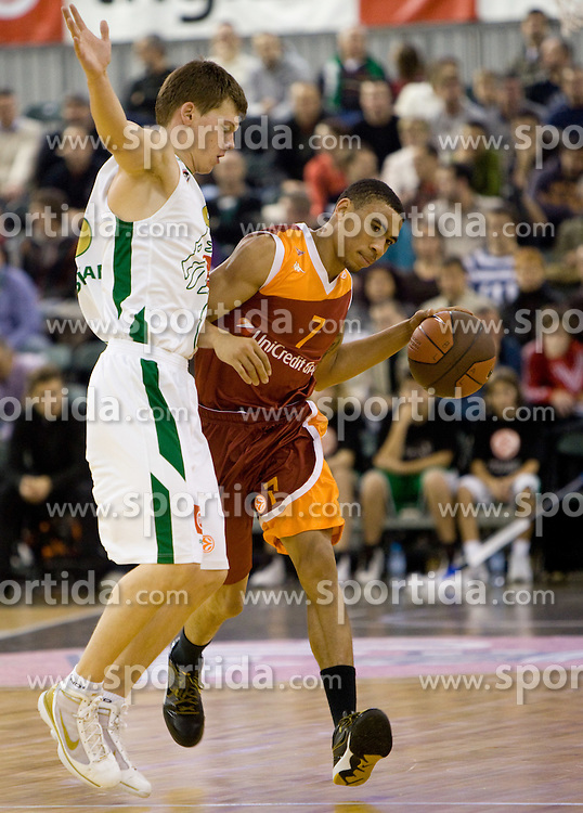 Jaka Klobucar (8) of Olimpija vs Jbrahim Jaaber  of Lottomatica at Euroleague basketball match in 5th Round of Group C between KK Union Olimpija and Virtus Lottomatica Roma, on November 25, 2009, in Arena Tivoli, Ljubljana, Slovenia. (Photo by Vid Ponikvar / Sportida)