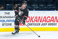 KELOWNA, CANADA -FEBRUARY 5: Brady Gaudet D #7 of the Red Deer Rebels skates with the puck during warm up against the Kelowna Rockets on February 5, 2014 at Prospera Place in Kelowna, British Columbia, Canada.   (Photo by Marissa Baecker/Getty Images)  *** Local Caption *** Brady Gaudet;