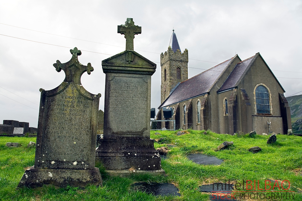 church and tombs. Glencolumbkille, County Donegal, Republic of Ireland.